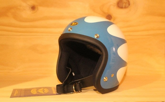 (I LOVE樂多)BUCO SCALLOPS藍白 4/3復古安全帽(史上最悠久經典的安全帽品牌)