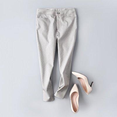 *有間衣飾*2017春 簡約條紋拱針小設計修身小直筒褲 2色