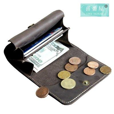 【喜番屋】真皮頭層牛皮男士多隔層皮夾皮包錢夾零錢包硬幣包收納包卡片包男夾【LH431】