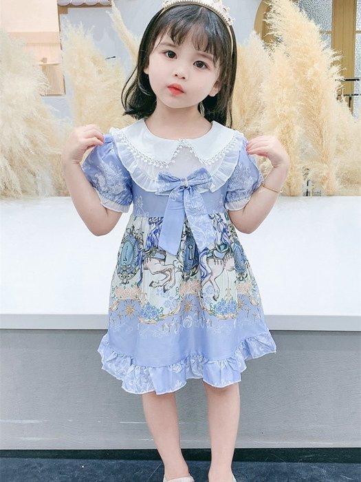 •*~ 辣媽咪衣飾小舖 ~*•❤童裝系列❤K050351韓版兒童夏款甜美夢幻夢蘿莉洛麗塔氣質公主裙洋裝