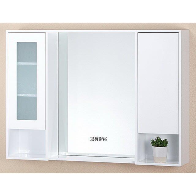 100%PVC發泡板雙門收納開放櫃 鏡櫃 120cm
