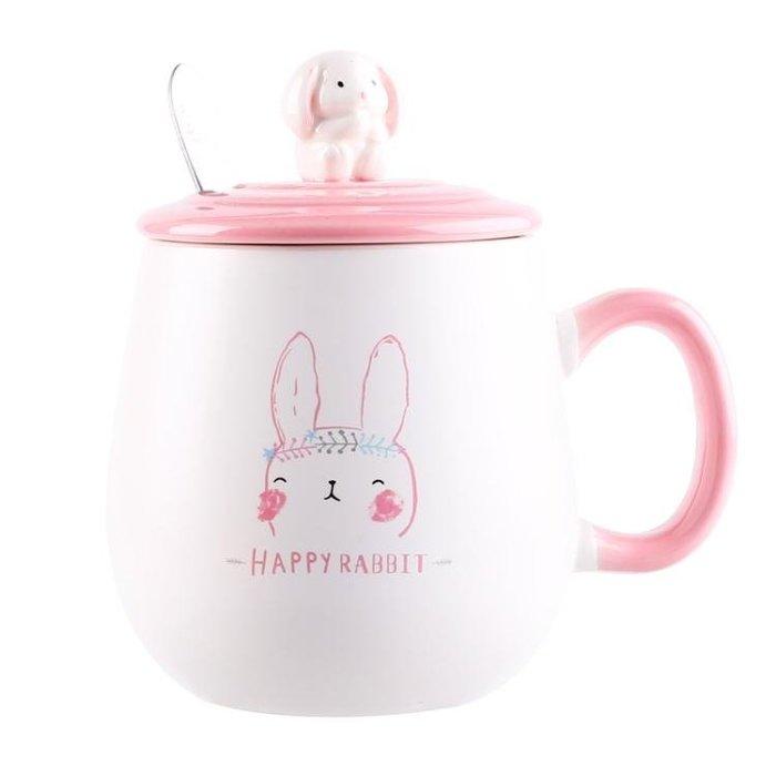 可愛女學生韓版水杯子ins創意潮流陶瓷帶蓋勺馬克杯牛奶杯早餐杯