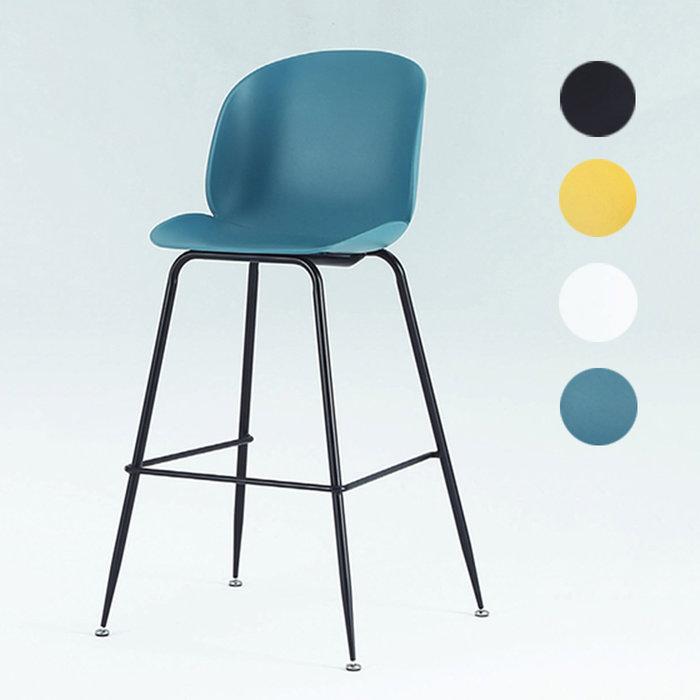 【在地人傢俱】20 幸福購-PP-725黑鐵腳黑/黃/白/綠色有背PP吧台椅/高腳餐椅/休閒椅 CS920-1