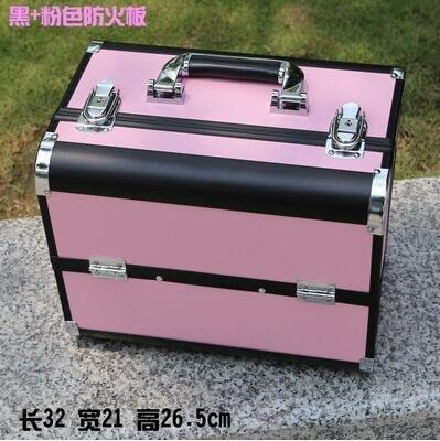 【優上】手提大號化妝箱專業化妝師紋繡工具箱彩妝箱大號黑+粉色防火板