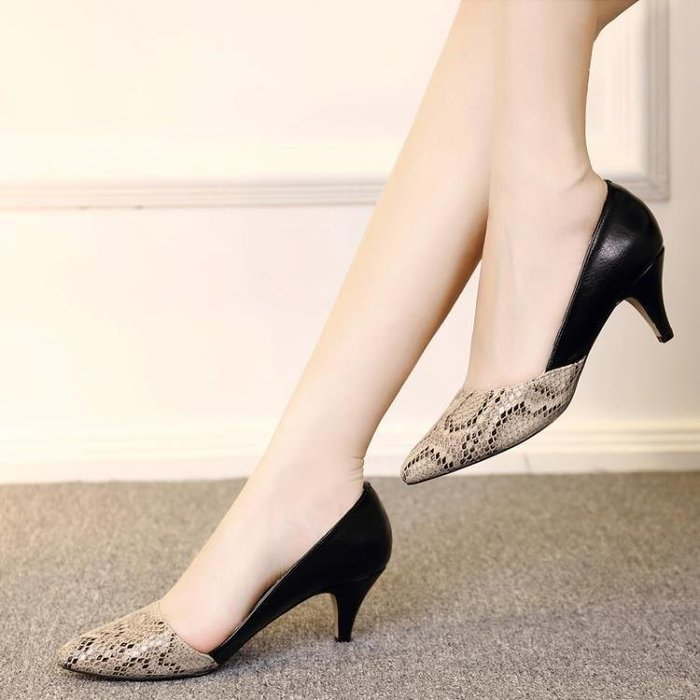 麥麥部落 高跟鞋百麗純愛好康新品女單鞋粗跟高跟淺口職業上班面試MB9D8