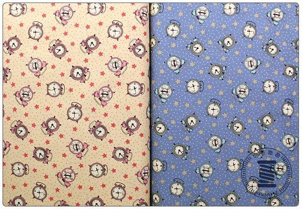 ✿小布物曲✿純棉 可愛鬧鐘印花布 窄幅110CM 韓國進口布料質感優 共2色 單價