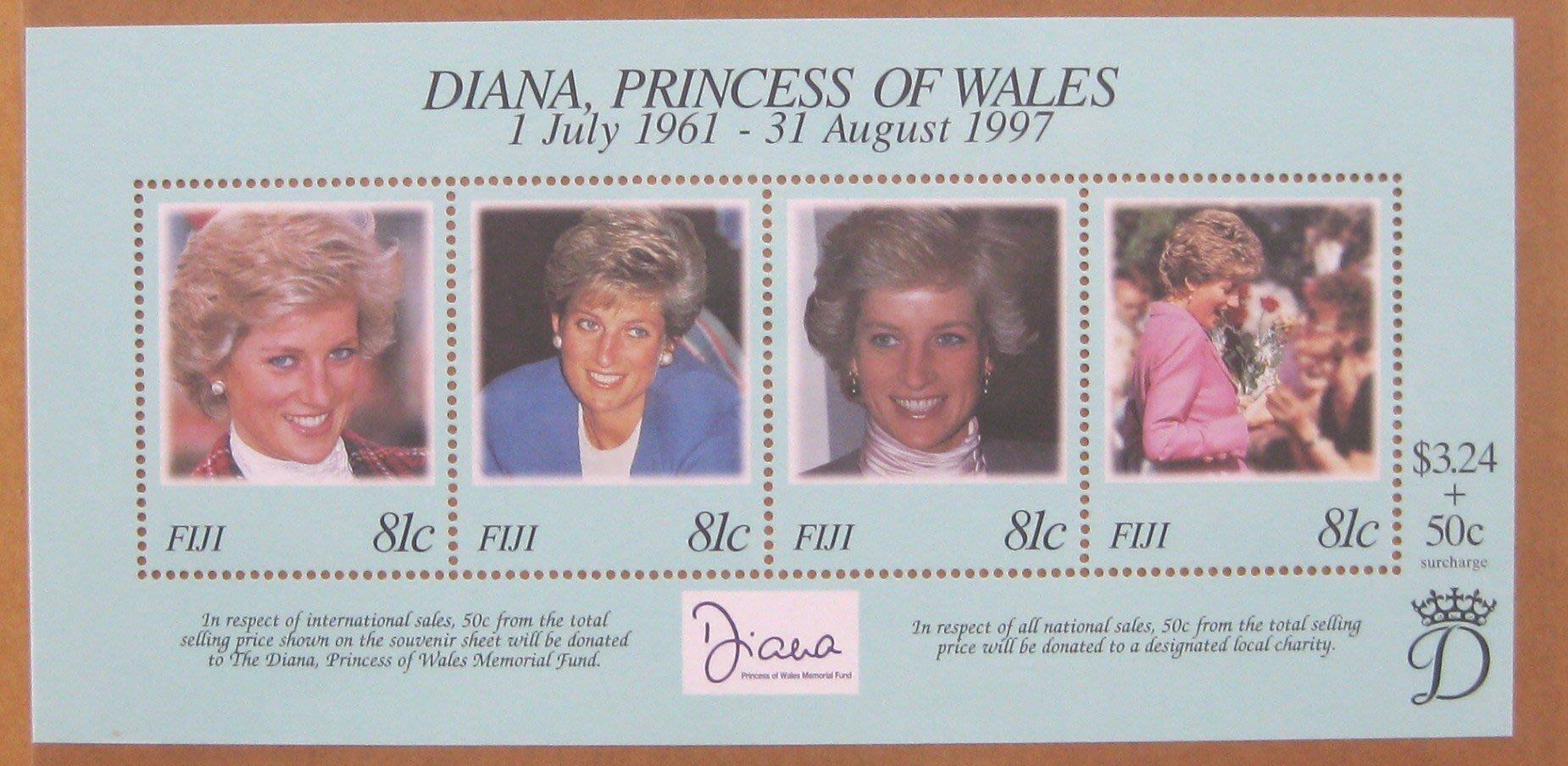 (9 _ 9)~-黛安娜系列小型張---斐濟群島---黛安娜王妃---15---外拍---雙僅一張