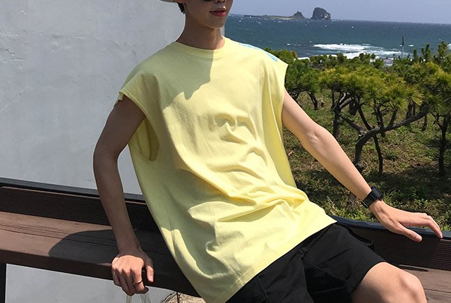 FINDSENSE H1夏季 新款 日本 简约印花  舒适透气 背心  寬鬆運動 背心  無袖T恤 潮男女上衣