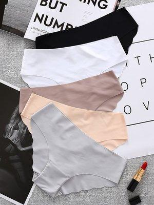 買5送1無痕一片式低腰性感純棉襠三角內褲女士中腰舒適