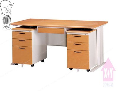 【X+Y時尚精品傢俱】主管桌系列-木紋檯面CD150 辦公桌+中抽+活動櫃*2.台南市OA辦公家具