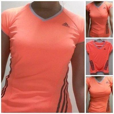 adidas 女款 輕量 透氣 涼感 吸排 短袖上衣 短袖T恤-螢光橘S