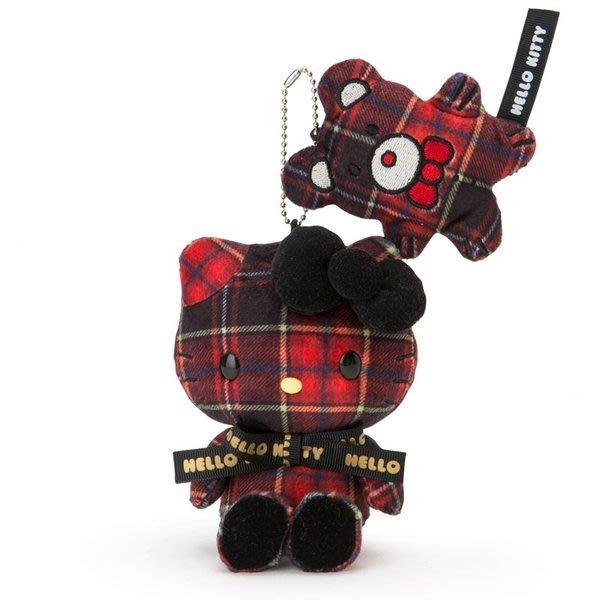 代購現貨  日本三麗鷗Hello Kitty蘇格蘭格子呢玩偶吊飾