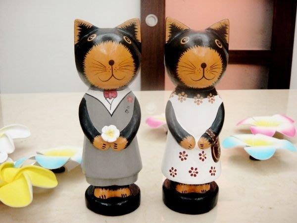 Y【永晴峇里島】巴里島情侶貓擺飾/公仔,居家、民宿、飯店都好用-擺飾32@