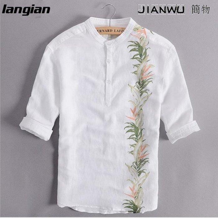中國風亞麻襯衫男短棉麻薄襯衣