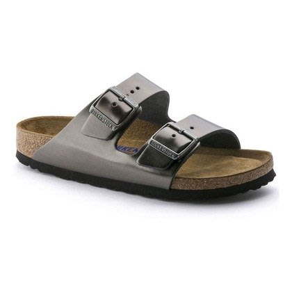 德國正品 【 BIRKENSTOCK 勃肯】 亞利桑那系列真皮雙帶拖鞋(寬版)-金屬炭灰