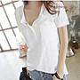 韓系 韓版 簡約短袖上衣 長袖上衣 T恤 S-XXL/竹節棉白色女裝v領寬松大碼百搭半袖可搭短褲 T305