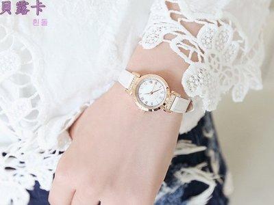 ☆貝露卡☆ 正韓國品牌 JULIUS 羅馬數字珍珠母貝小圓框鑲鑽珠光亮澤質感細皮帶手錶 預購