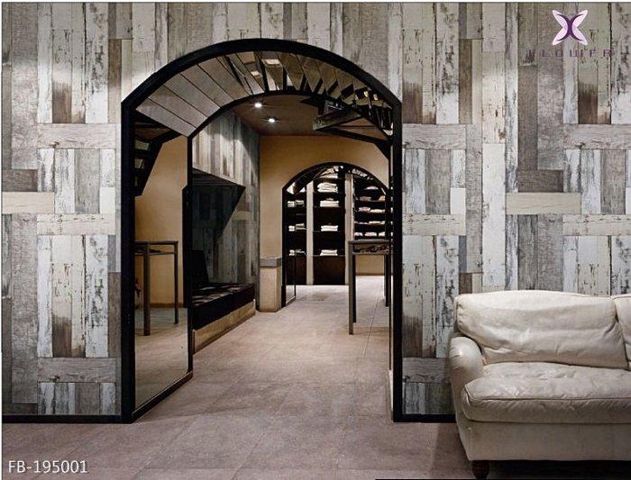【夏法羅 窗藝】日本進口 文化磚 鄉村風 LOFT 工業風 木紋 做舊木板拼貼 仿真仿建材壁紙 FB-195001
