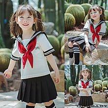 《童伶寶貝》XA015-夏款學院水手服大領巾女童短袖+百褶裙套裝