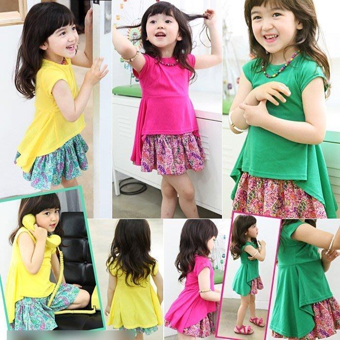 韓版《亮彩傘狀款》裙式長版短袖上衣 (J6-3)