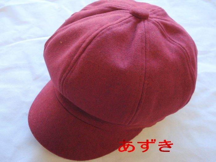 百褡帽款-小臉帽四季純色厚織貝雷帽↘純色款-棗紅