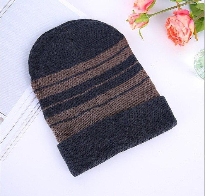 帽子 毛帽 針織帽 毛線帽 尖尖帽 條紋毛線帽 小臉帽 雙層保暖帽