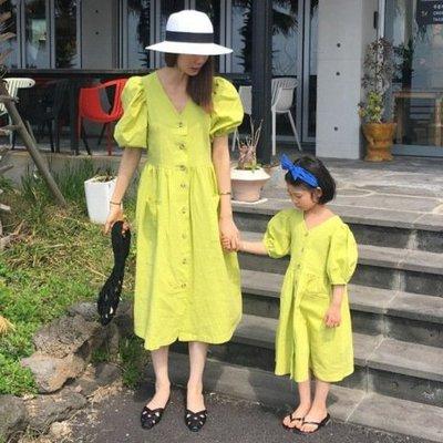 iKIDS♬2019夏季 新款 韓版 女童 童裝 中童 大童 復古風 甜美 泡泡袖 連衣裙 洋裝 親子裝(預購) PO