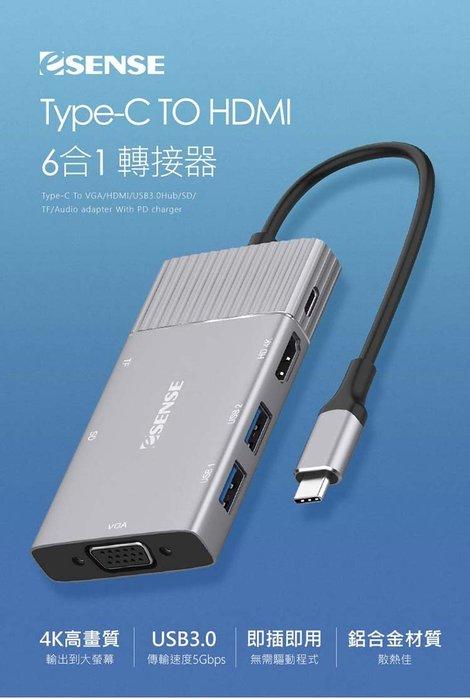 【開心驛站】Esense Type-C TO HDMI 6合1 轉接器 01-ECH621GA