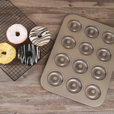 家用烘焙模具 12連甜甜圈蛋糕模具 車輪泡芙模 不沾12連蛋糕模具 YTL