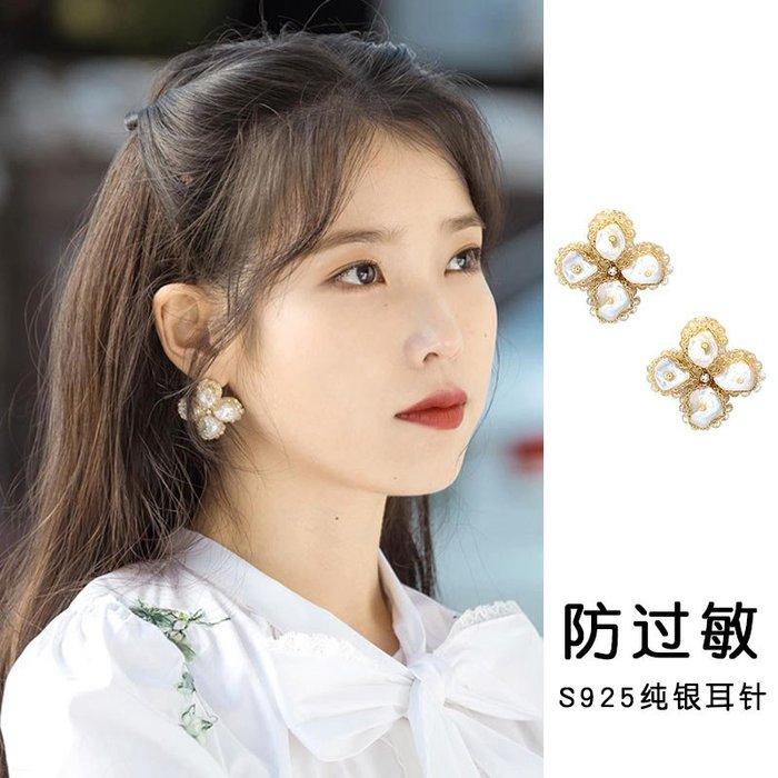 Lissom韓國代購~德魯納酒店iu同款耳環復古珍珠氣質耳釘韓國東大門蕾絲花瓣耳飾女