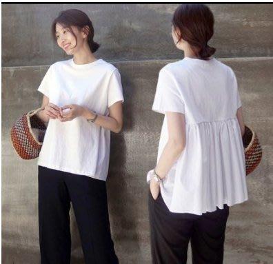 上衣 短袖T恤 韓系 休閒衫 短袖T恤寬鬆白色純棉休閒百搭蓬蓬上衣娃娃衫非D07.9505