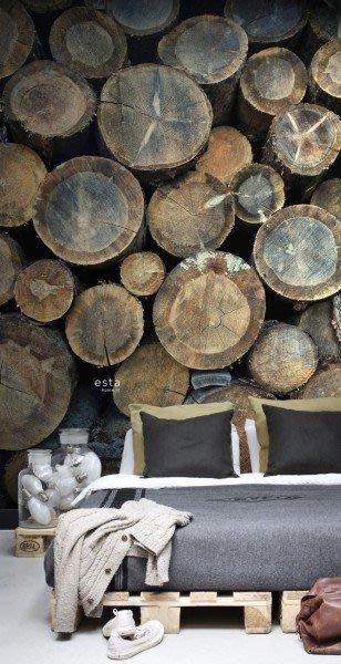【Uluru】歐洲期貨壁紙.北歐簡約 wood logs 木頭 原木 圓木 植物 壁紙 HE105系列