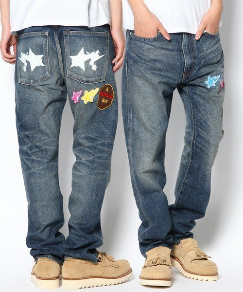 特價「NSS』A BATHING APE BAPE 2008 TYPE-05 STA PAINT DENIM PANTS