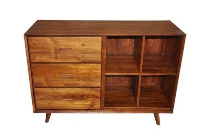 塔森柚木家具-北歐風三抽四格櫃 CA-27