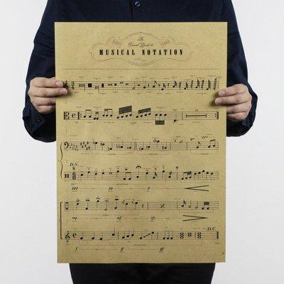 【貼貼屋】音符 樂譜 音樂教室 佈置 復古海報 牛皮紙海報 店面裝飾 壁貼 762