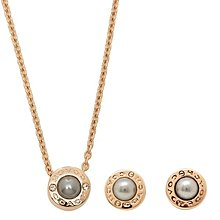 COACH OPEN CIRCLE PEARL NECKLACE AND EARRING SET F24254 珍珠耳環+頸鏈套裝禮盒