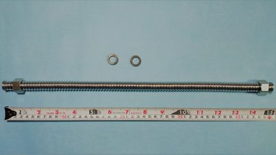 不鏽鋼 304 波紋管  螺紋管 不鏽鋼管 白鐵浪管 可繞管  熱水器軟管1尺半(45cm)