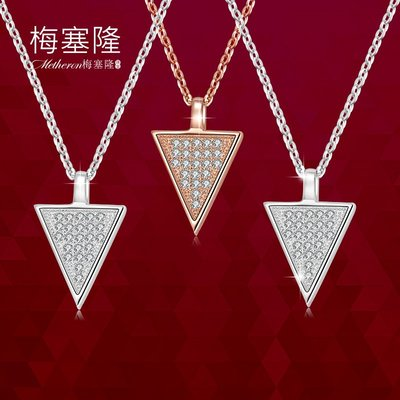 韓國Baby~梅塞隆 三角形項鍊女短款925銀玫瑰金色鎖骨鍊吊墜日韓春送女友
