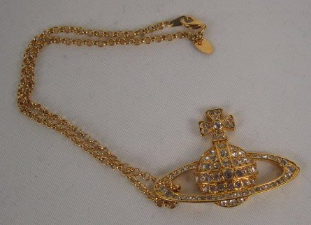 *旺角名店* 真品 Vivienne Westwood 土星 水鑽 項鍊 [032405]