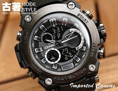 『古著Ancient 』【SS0045】運動防水電子錶,雙時間/鬧鐘/碼錶/EL背光/大鏡面/雜誌款,多功能腕錶