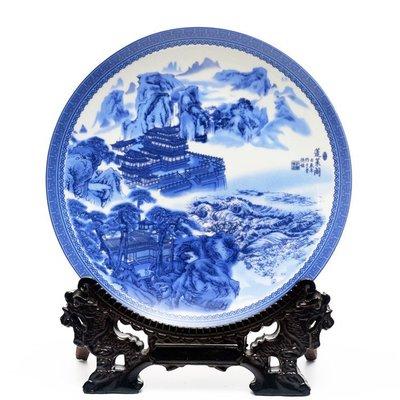 青花綜合裝飾品掛盤景德鎮陶瓷器 蓬萊閣 開心陶瓷100