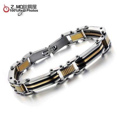 316L鈦鋼手環 金色線條造型 精美設計 時尚流行配件 好友禮物 單件價【CKS621】Z.MO鈦鋼屋