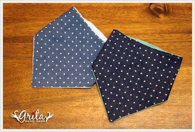 ♥gritas handmade♥純棉手作嬰幼兒三角巾,可當圍兜兜/領巾/口水巾,幫造型加分-單寧風