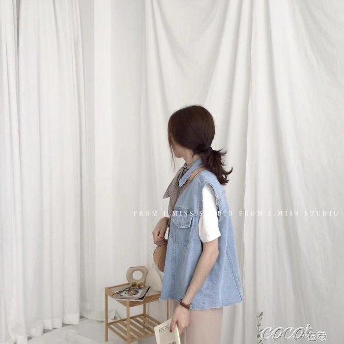 牛仔馬甲 牛仔馬甲女夏季新款韓版學生春秋毛邊寬鬆無袖外套上衣