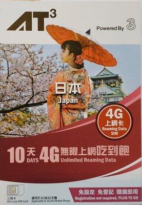 日本上網 3HK Docomo 10天10GB 上網sim卡 sim卡 上網 東京 北海道 沖繩 高雄市
