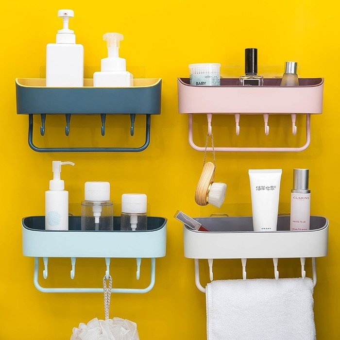 277小舖 2019簡約免打孔浴室壁挂置物架 衛生間多功能廚房塑膠收納整理架. 顏色隨機出貨