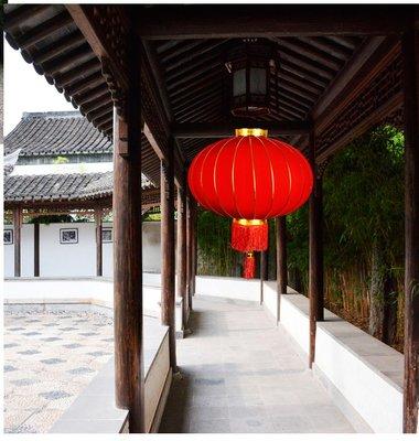 大紅燈籠元旦節日裝飾戶外防水綢布鐵口廣告燈籠植絨新年綢段燈籠