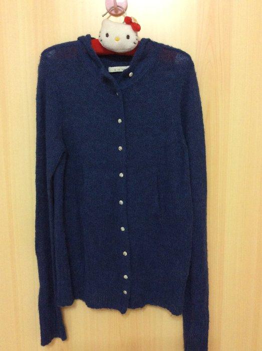 a la sha  藍色毛料上衣—左右隱藏式口袋《羊毛成份》特價出凊
