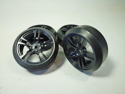 大千遙控模型 1/10 亮黑色五幅像真甩尾胎框組 一車份