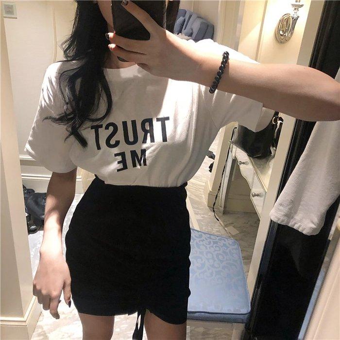 【Tracy's 貓頭鷹小姐】韓國訂單字母T桖/抽繩花苞短裙/ 顯瘦女上衣女裝T桖網美潮流套裝休閒修身OL白色灰色實拍